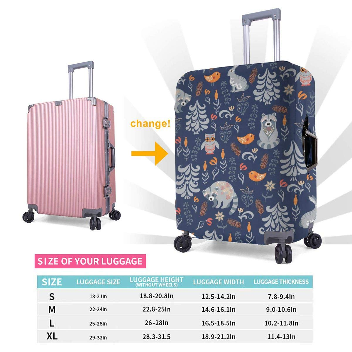 Birds Raccoons Owls Rabbits Travel Luggage Cover Suitcase Protector Washable Zipper Baggage Cover