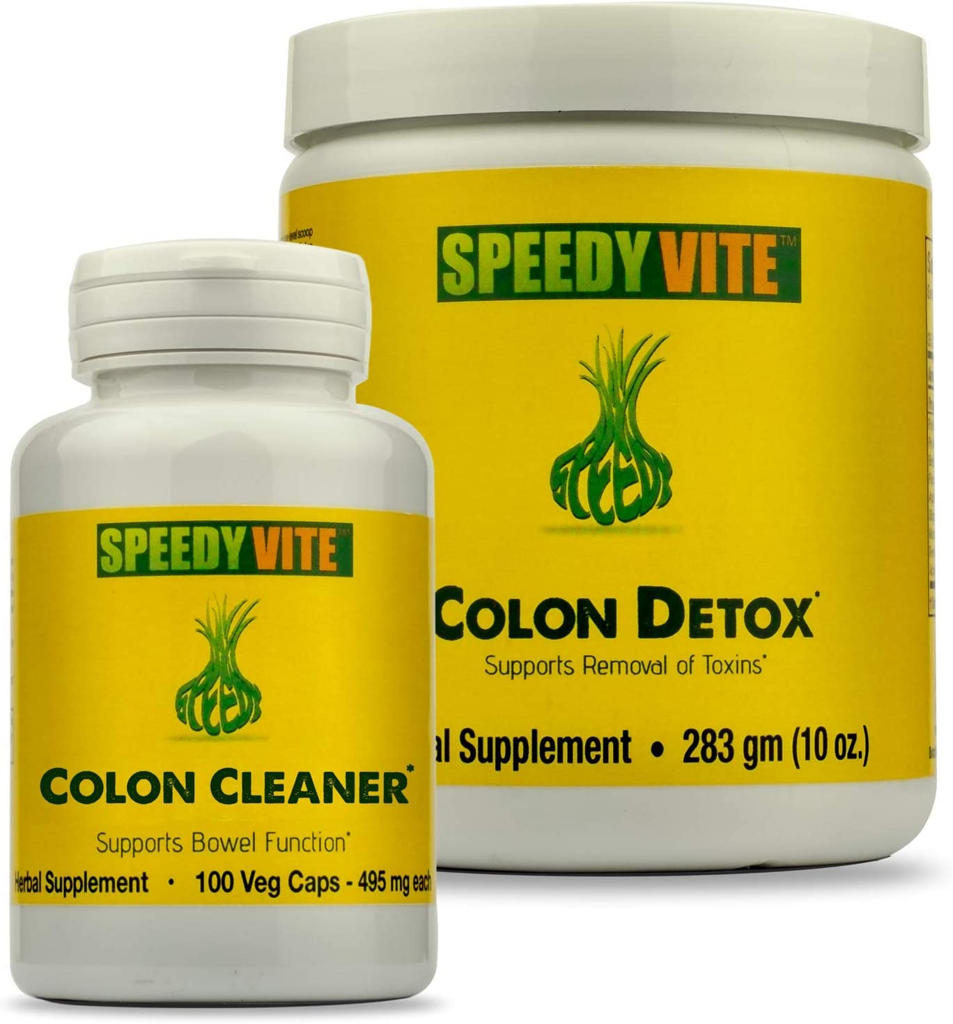 SpeedyVite Complete Colon Detox Cleanse Set 10oz Powder Detox, 100 Veg Cap Cleanse