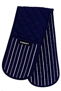 "Cuisinart Quilted Heat Resistant Double Oven Mitt/Glove, Twill Stripe, 7.5"" x 35"", Great for Cooking, Baking, and Handling Hot Pots & Pans- Navy Aura"