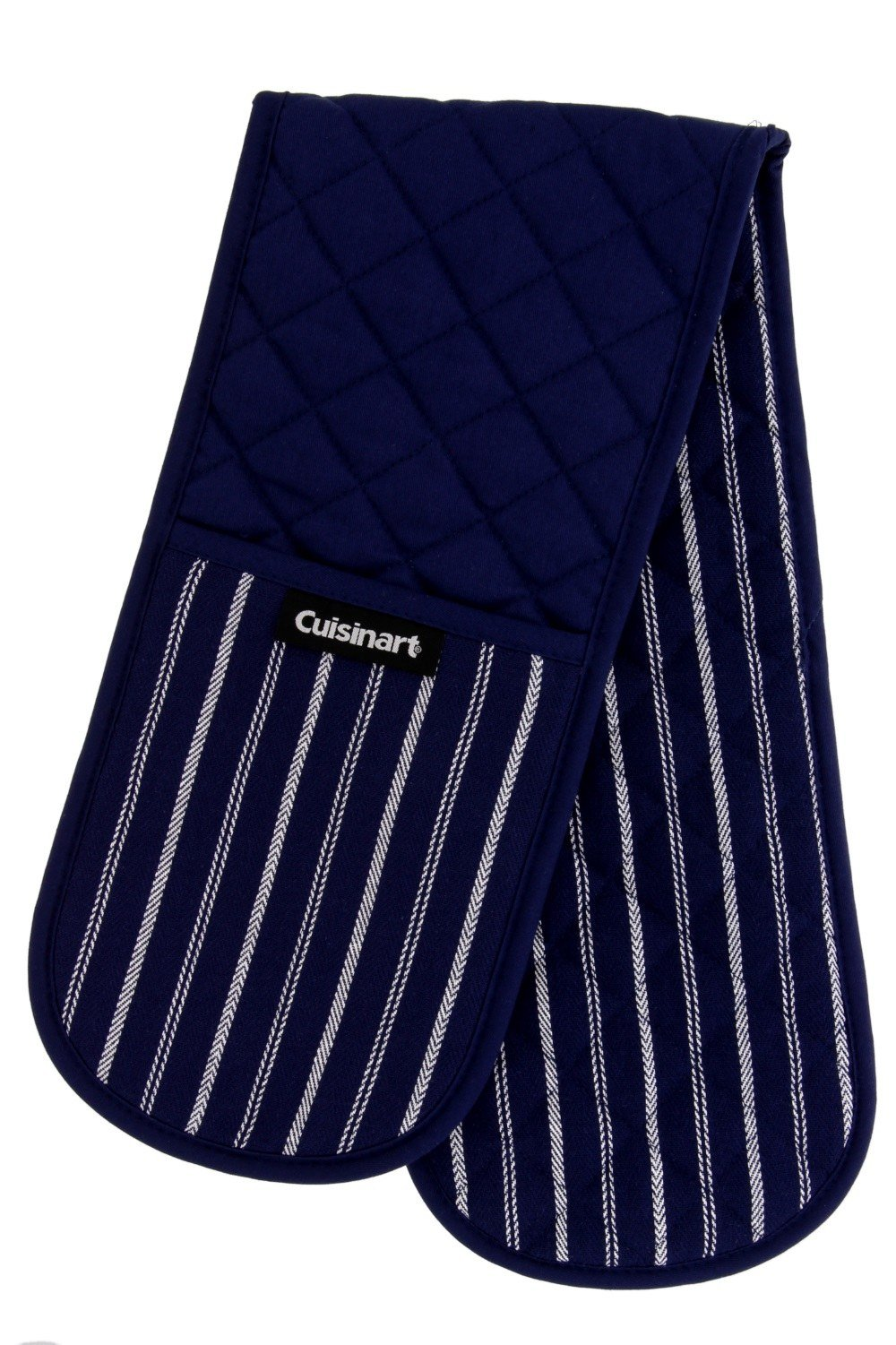 """Cuisinart Quilted Heat Resistant Double Oven Mitt/Glove, Twill Stripe, 7.5"""" x 35"""", Great for Cooking, Baking, and Handling Hot Pots & Pans- Navy Aura"""