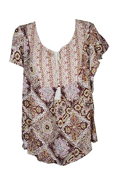 dffad75ac2606 Style   Co. Womens Plus Printed Keyhole Peasant Top Red 1X at Amazon ...