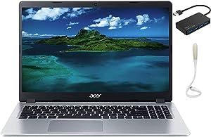 Newest Acer Aspire 5 Slim Laptop, 15.6 inches FHD IPS 1080P Computer, AMD Ryzen 3 3200U, 8GB RAM, 128GB SSD + 500GB HDD, Backlit KB, Win 10 S Silver, with TSBEAU USB Hub+USB LED Light