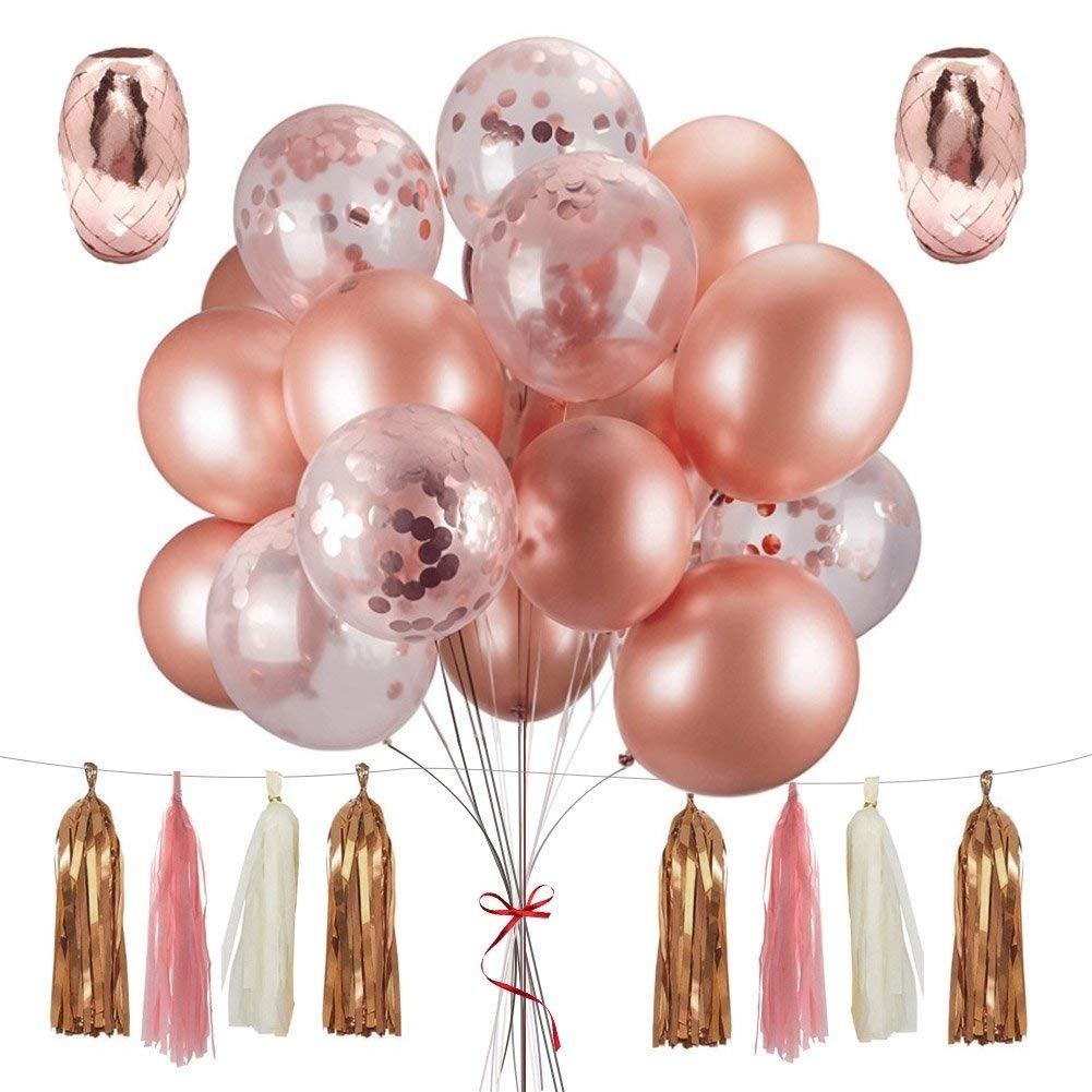 MAIKEHIGH Oro Rosa Globos Decoración Fiesta 48 Pieza, 10 Confeti Globos 12, 20 Látex Globos 15 Borla 3 Ribbon para Navidad Fiesta Boda Cumpleaños ...