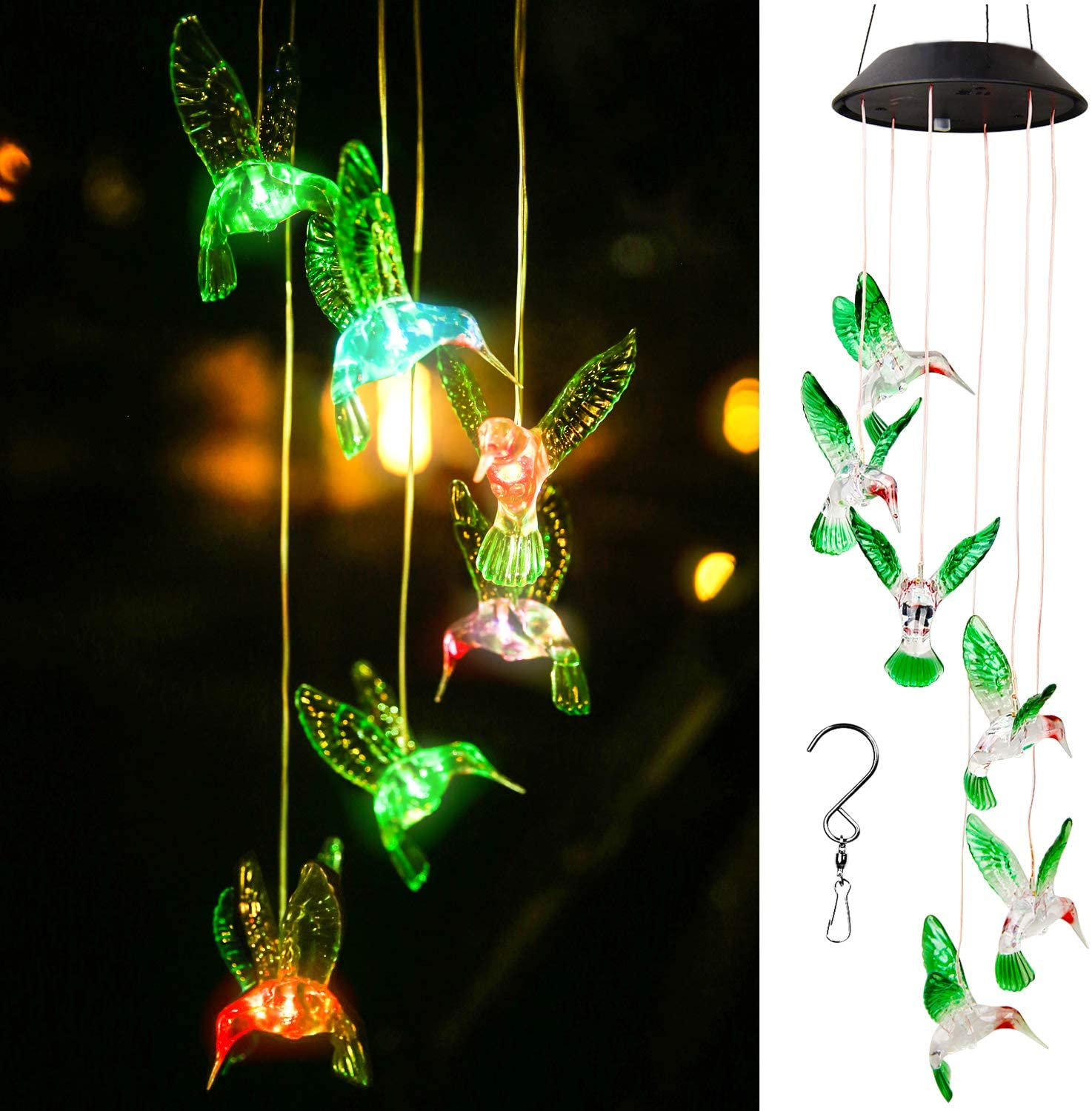 Solar Powered Color-Changing LED Hummingbird Wind Chime Lights Yard Garden Decor