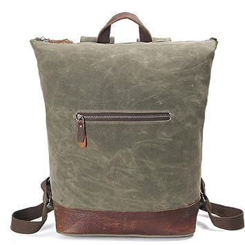 Mochila bolso de tela vintage a prueba de agua la primera capa de cuero bolso de lona para mujeres hombres maletín espesa reforzado mochilas verdes, ...