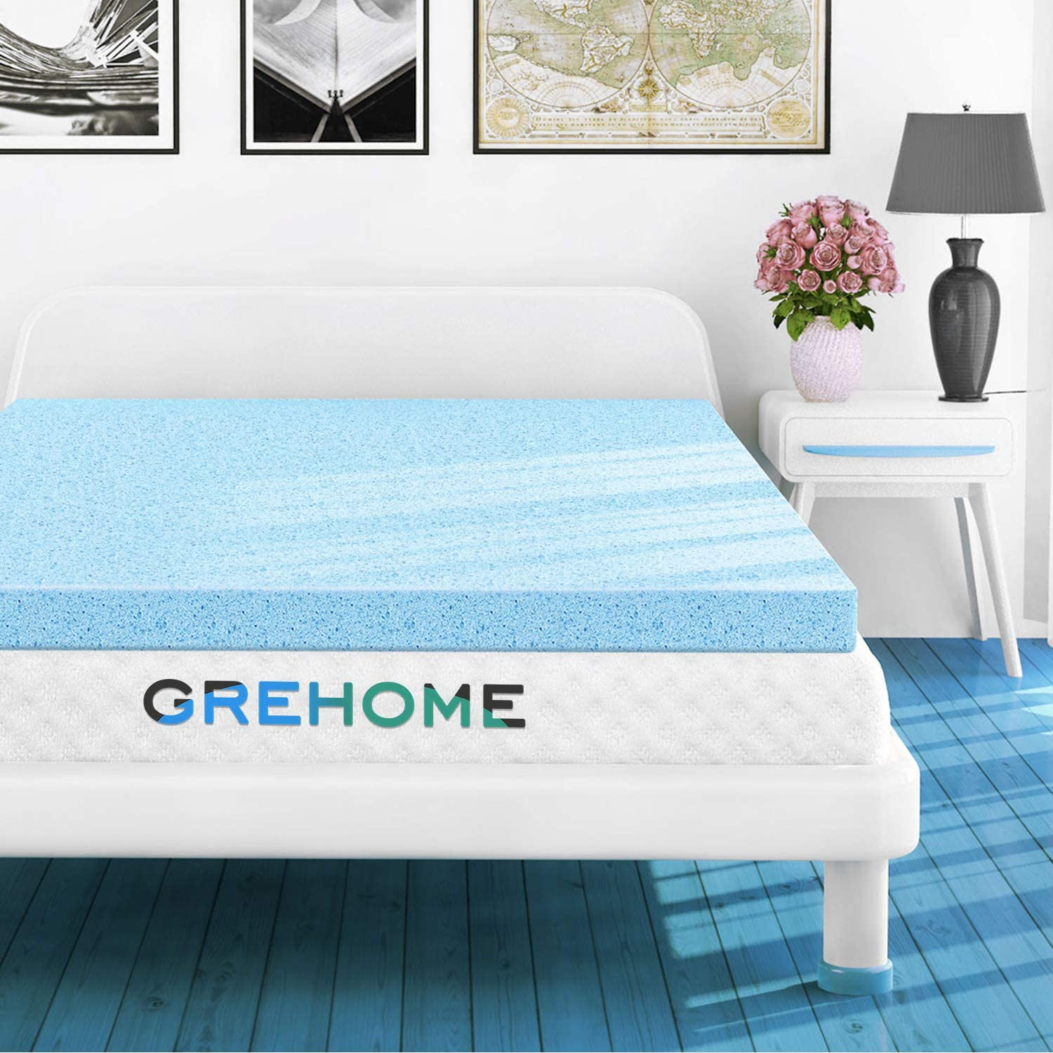 GREHOME Mattress Topper Twin, 2 Inch Gel Infused Memory Foam Mattress Topper, Mattress Topper for Twin Bed, 38 x 74 x 2 inches 97 x 188 x 5.08 cm