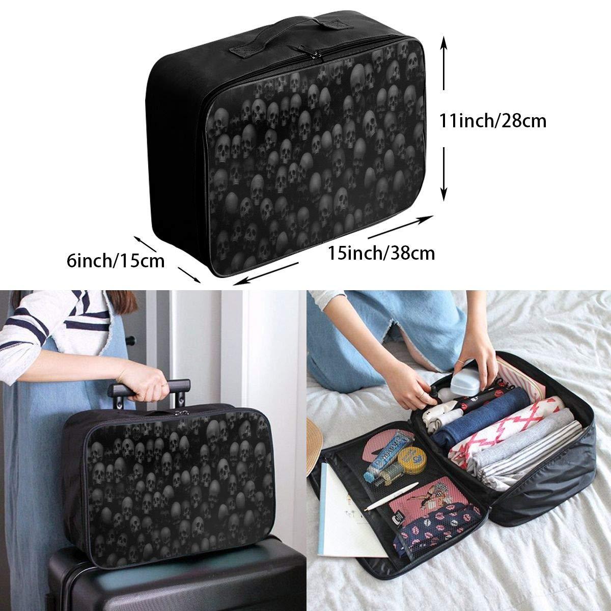 Black Skull Head Travel Duffel Bag Waterproof Fashion Lightweight Large Capacity Portable Luggage Bag