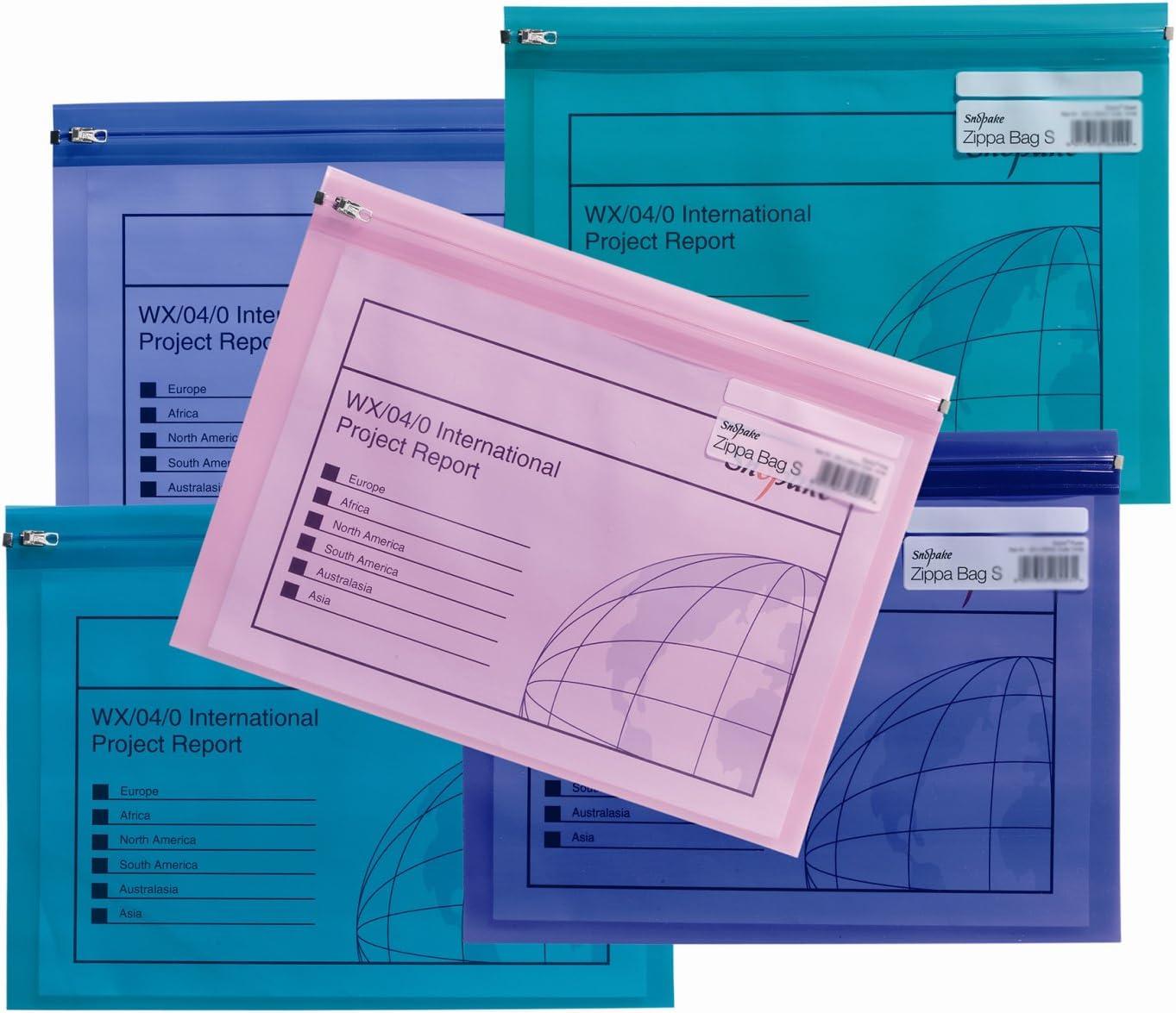 Snopake Zippa Bag 'S' - Bolsa con cierre por cursor (5 unidades, A4, 325 x 235 mm), diseño transparente, multicolor