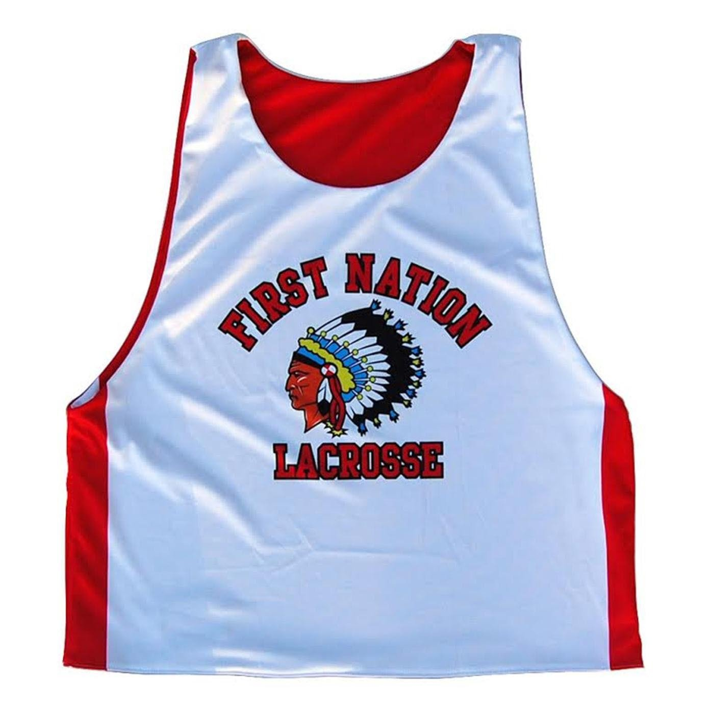 Red and White Adult X-Large First Nation Sublimated Lacrosse Pinnie