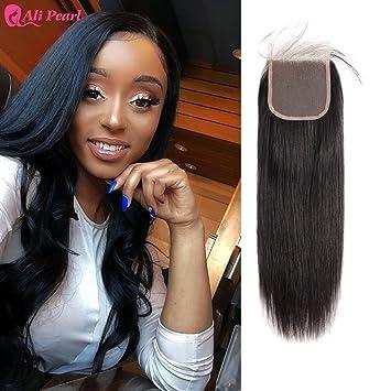 Ali Pearl 8a Brazilian Human Hair Straight 4x4 Lace Closure Free Part Human Hair Extension Natural Black 8