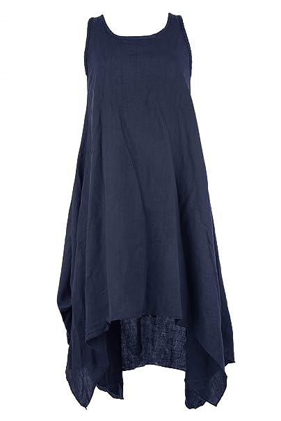 d8209b922a TEXTURE Ladies Women Italian Lagenlook Sleeveless 3 Button Back Linen  Asymmetric Tulip Midi Dress One Size (Navy