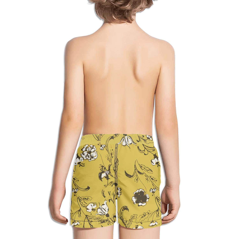 Ouxioaz Boys Swim Trunk Watercolor Daisy Flower Floral Beach Board Shorts