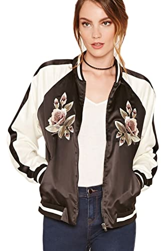 Mujeres Bordado Floral Cremallera Bolsillos Bomber Jacket Outerwear Tops