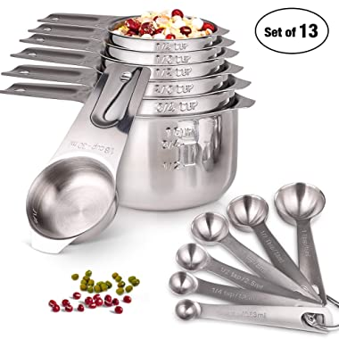 Measuring Cups and Spoons Set 13 Pieces Stainless Steel Stackable and Nesting Measuring Set for Dry and Liquid Ingredients for Cooking and Baking by HOMEASY