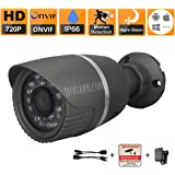 HOSAFE 1MB1G ONVIF 1.0 Megapixel 720P IP Camera Weatherproof Metal Bullet 24 leds for 66ft night vision, Free P2P Cloud server supporting working on Iphone/Android, 3.6mm Megapixel lens, IR Cut for true color picture