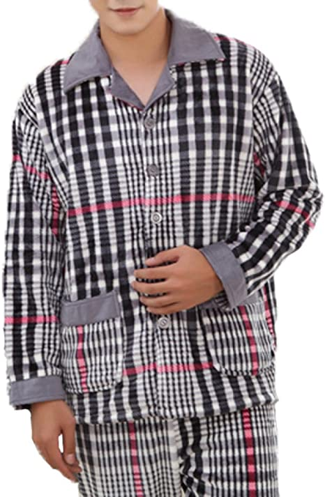 Pijama Suave para Hombre Pijama Simple para Franela De Lujo Pijama De Manga Larga para Franela Y Pantalones Conjunto De Pijama De Moda Pijama De Rayas ...