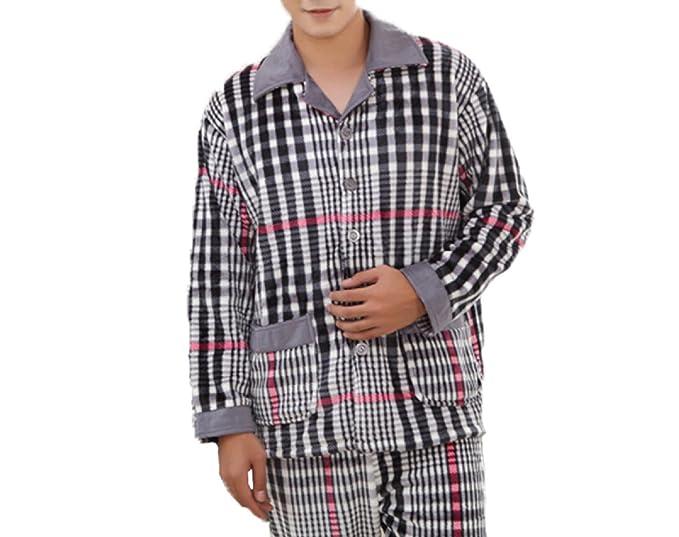 Pijama Suave para Hombre Pijama Simple para Franela De Lujo Pijama De Manga Larga para Franela