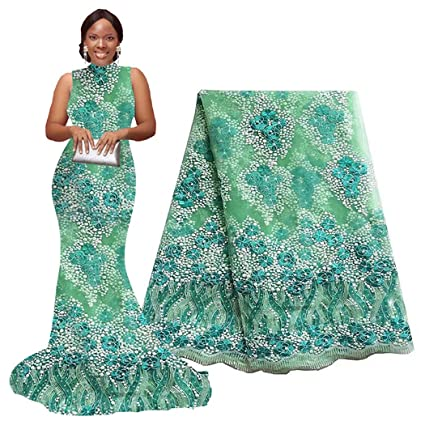 4f12a63e56d42d Amazon.com  5 Yards African Lace Fabrics Nigerian French Beaded ...