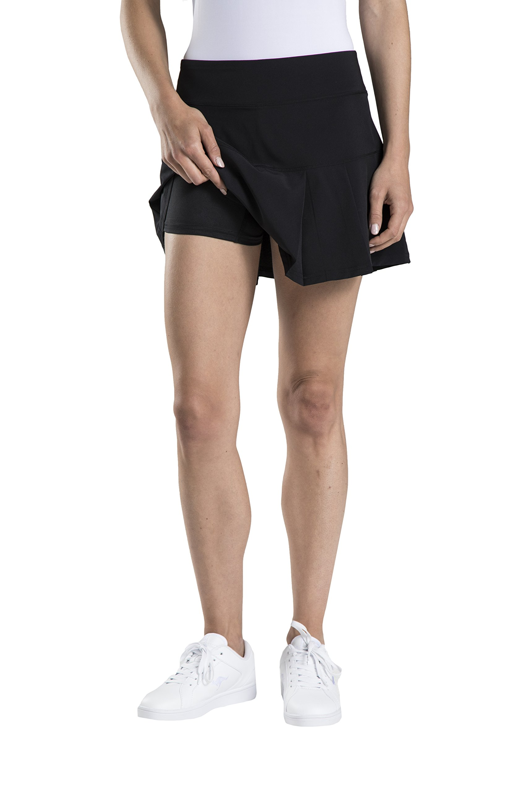 Etonic Women's Stretch Woven Tennis Skort, Black, Large