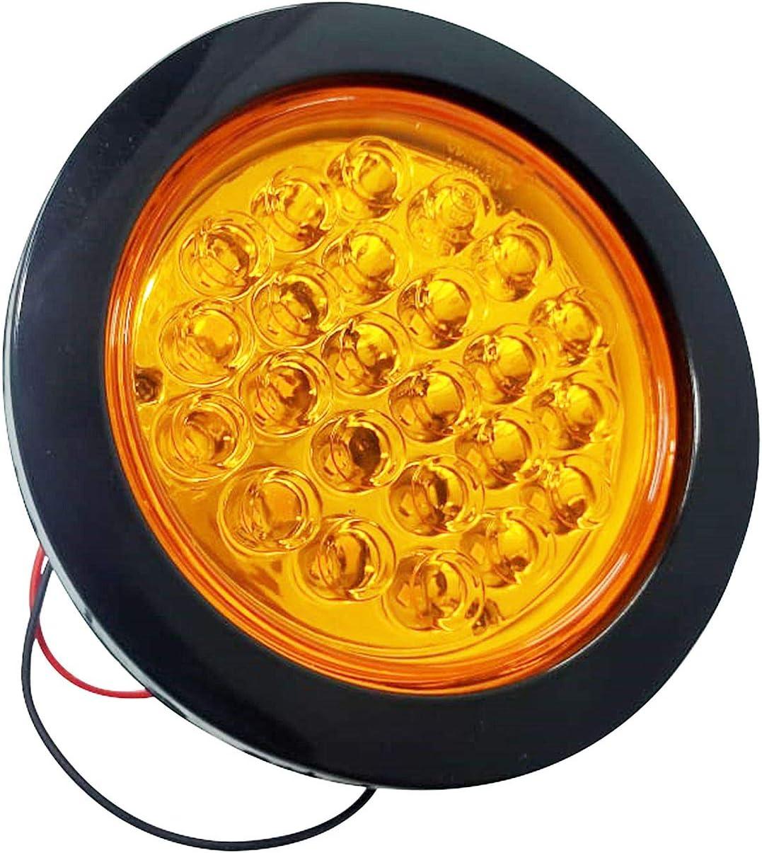 Amber-Black Bajato Round 4 AMBER Led Indicator Flasher lamp Tractor Trailer truck rubber RING 2 pcs.