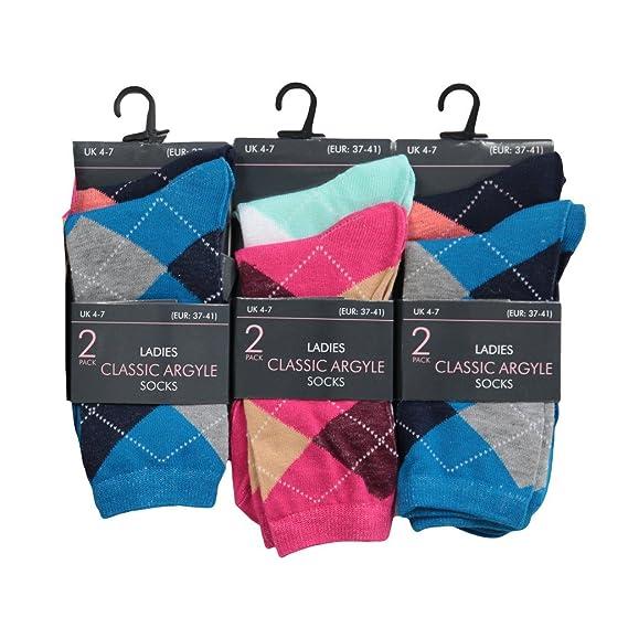 6 pares de calcetines para mujeres, diseño retro, de rombos, tallas 35/37-38 multicolor Surtido: Amazon.es: Ropa y accesorios