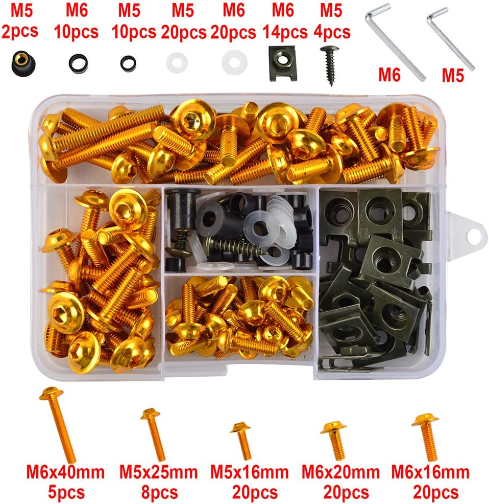 H2Racing Universal Fairing Bolts Kit Fastener Clips Screws