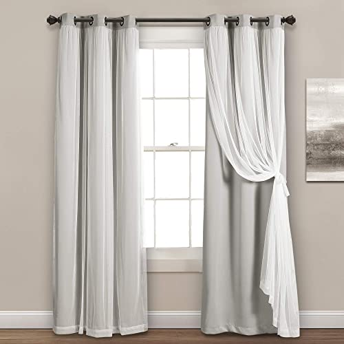 Lush Decor, Light Gray Sheer Grommet Panel with Insulated Blackout Lining, Room Darkening Window Curtain Set Pair , 120 x 38 , 120 L