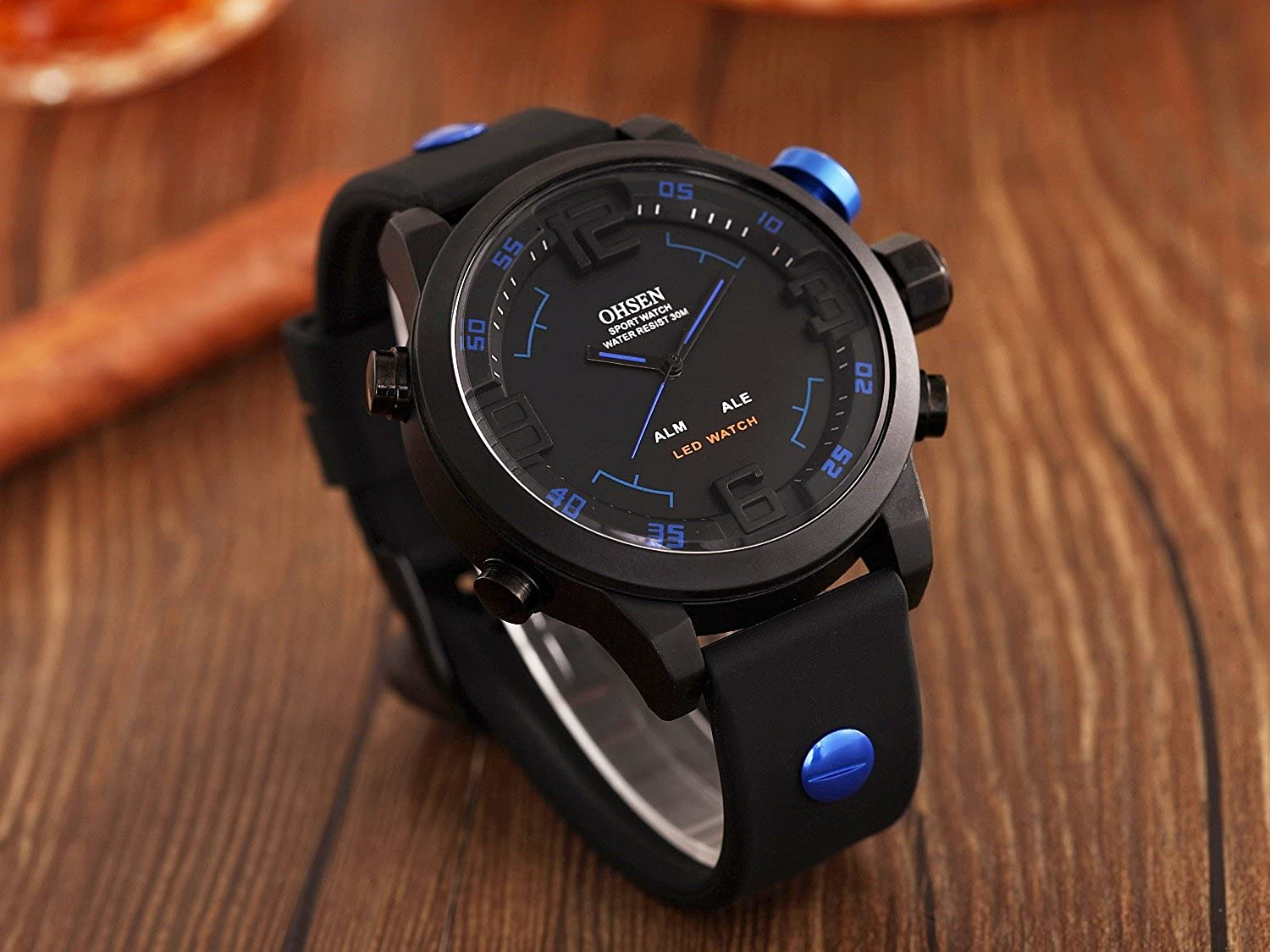 Amazon.com: ShoppeWatch Mens LED Watch Black Silicone Band Dual Time Date Day Sport Military Blue Hands OH-249: Watches