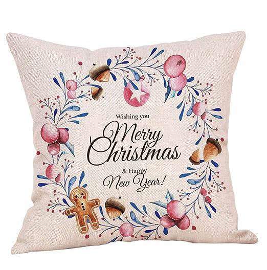 lonupazz Merry Christmas Funda de cojín Lino Navidad diseño ...