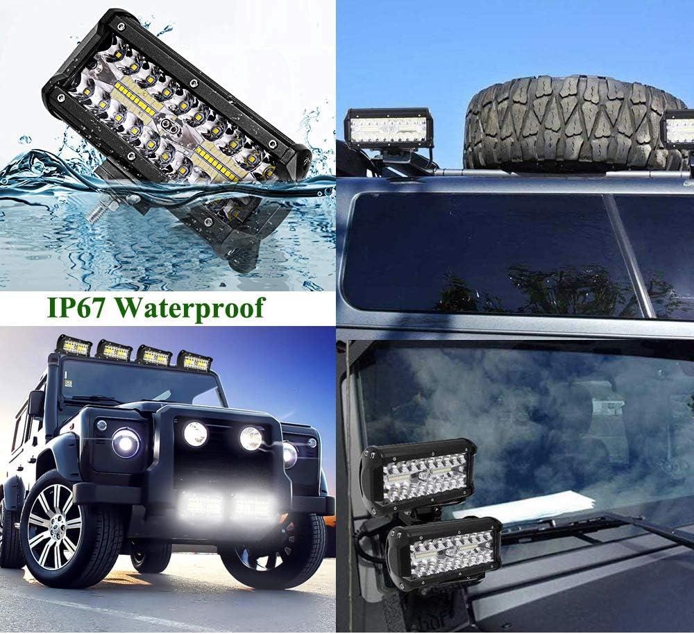 6X 180W LED Work Light Bar,ALPHA DIMA 6000K IP67 Waterproof Off Road Lights Car Trucks Roof Light Bar LED Driving Lights Spotlights CREE LED Lights