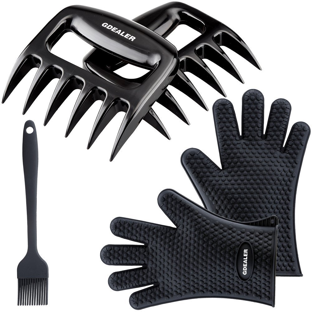 GDEALER Silicone Gloves - Meat Claws - Heat Resistant Grilling Oven Gloves Mitts Set BBQ Cooking Gloves with Meat Shredder and Silicone Basting Brush for Cooking, Grilling, Baking, Barbecue Svitseller SYNCHKG083187