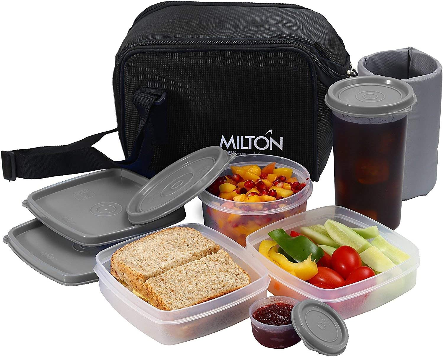 Insulated Lunch Bag Box Kit, Milton 5 Pc Set, Adults Men Women, Leakproof Airtight Containers Cooler Tote with Adjustable Shoulder Strap for Work and Travel - Black
