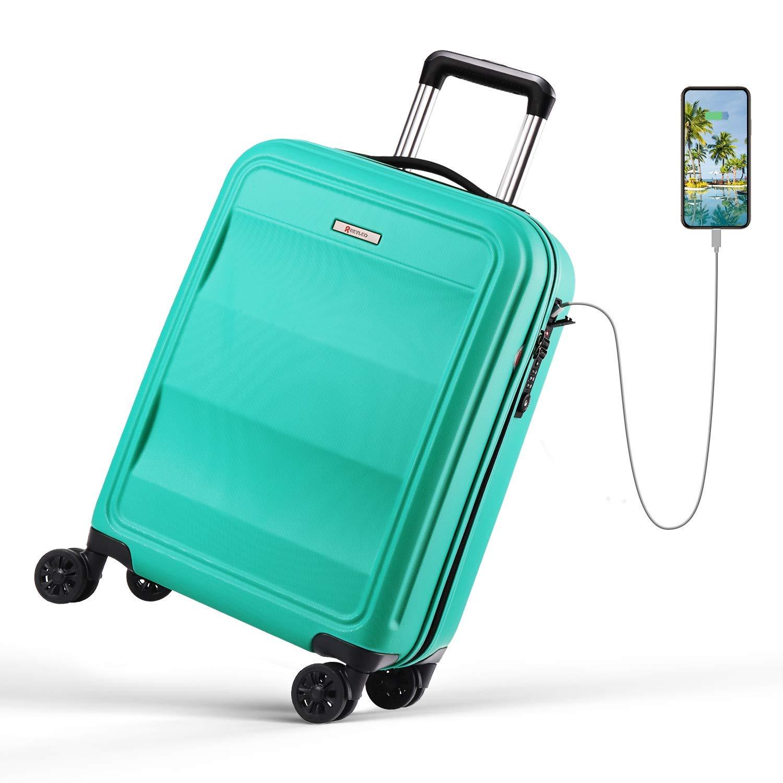 REYLEO, Valigia Rigida da Viaggio con Porta di Ricarica USB