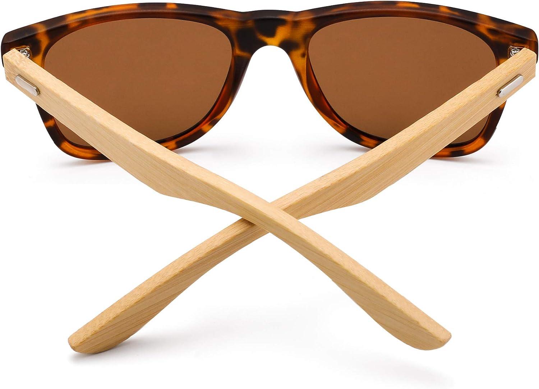 GLINDAR Wood Polarized Sunglasses for Men Women Retro Square Glasses UV400 Protection