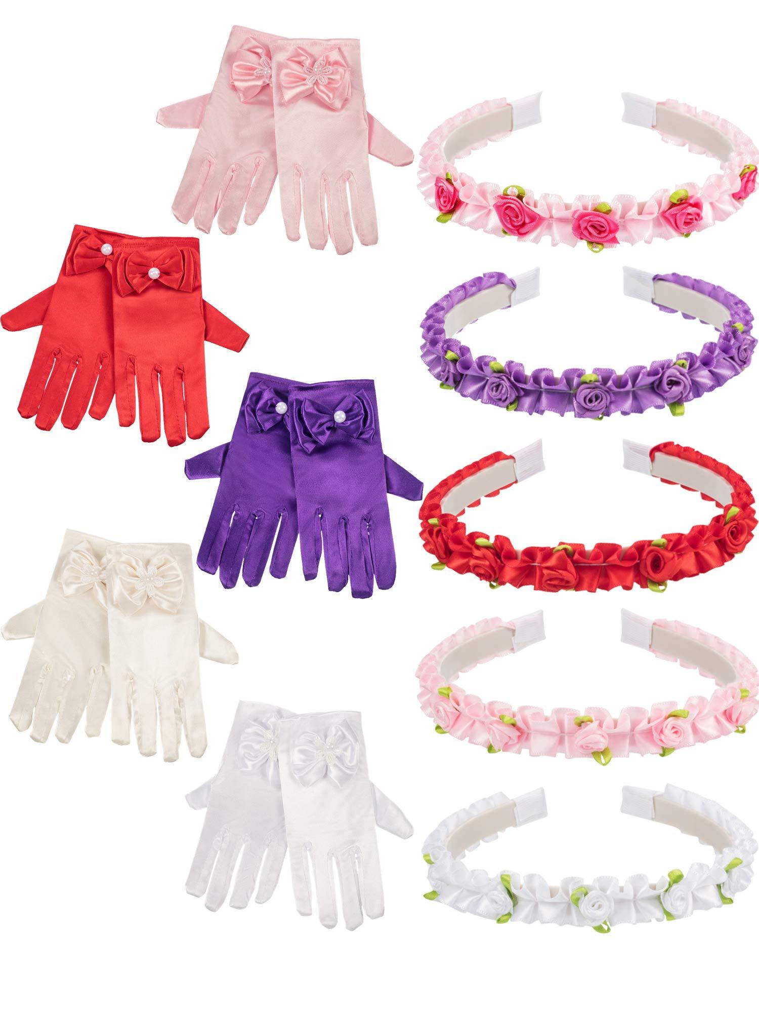 Zhanmai 5 Pairs Girls Satin Fancy Princess Dress up Gloves and Headband Headpiece by Zhanmai