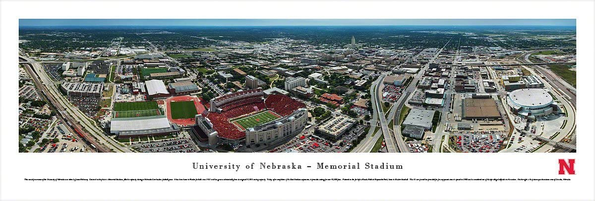 Campus Aerial View Nebraska Cornhuskers Football Blakeway Panoramas Print