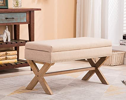 Fabric Upholstered Storage Ottoman Bench, Large Rectangular Beige Footrest  Collapsible Bench Seat With Nailhead Trim