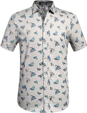 SSLR Camisa con Estampado de Tiburones Manga Corta de Algodón de ...