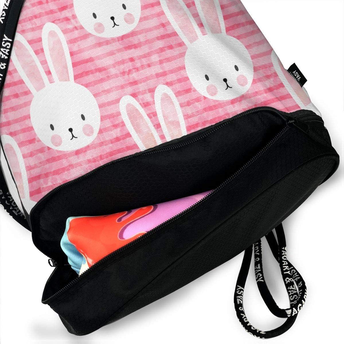 Drawstring Backpack Bunny On Dark Pink Rucksack