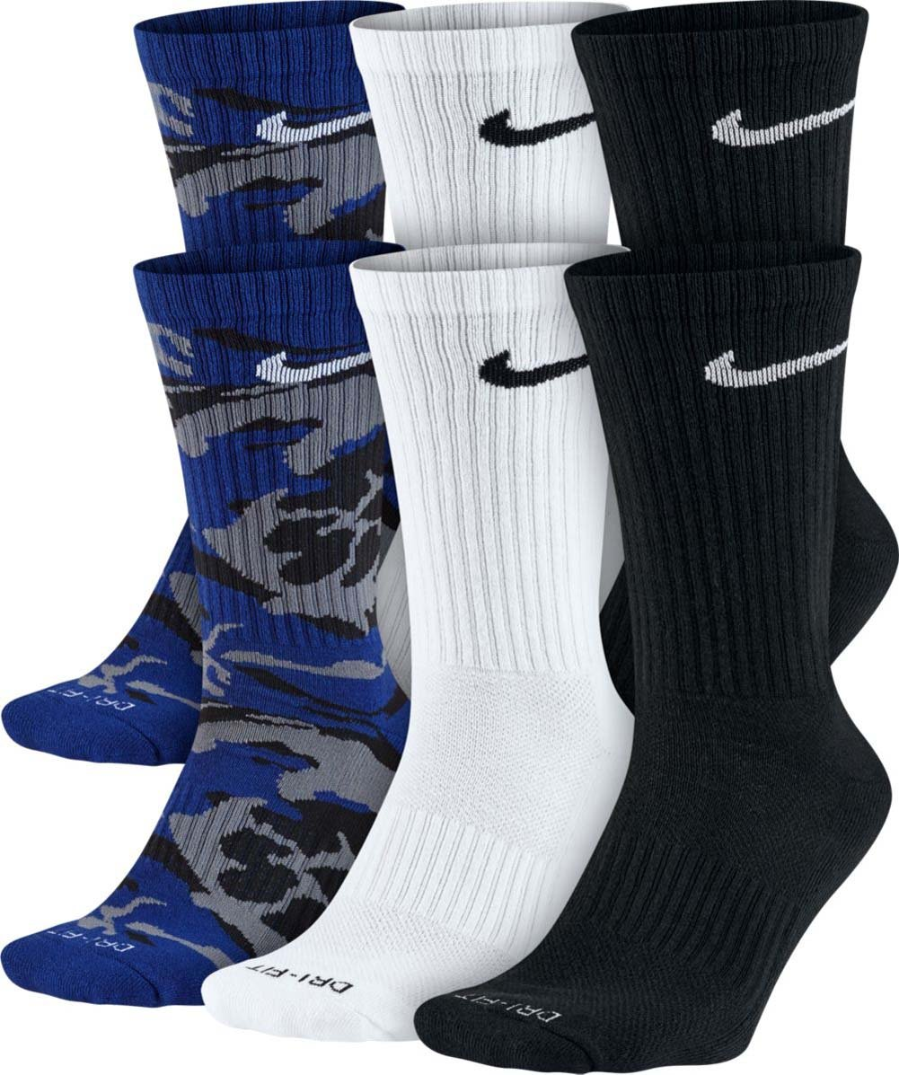 NIKE DRI FIT CUSHION CREW 6 PK MULTI COLOR MENS CREW SOCKS by Nike