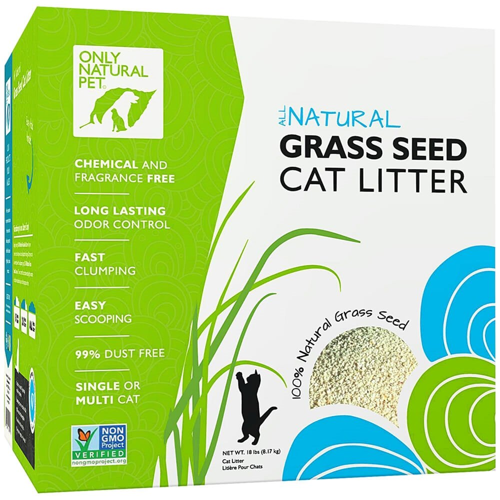 Only Natural Pet Fast Clumping Cat Litter Non GMO Grass Seed All Natural Kitty Litter Single or Multi Cat Unscented