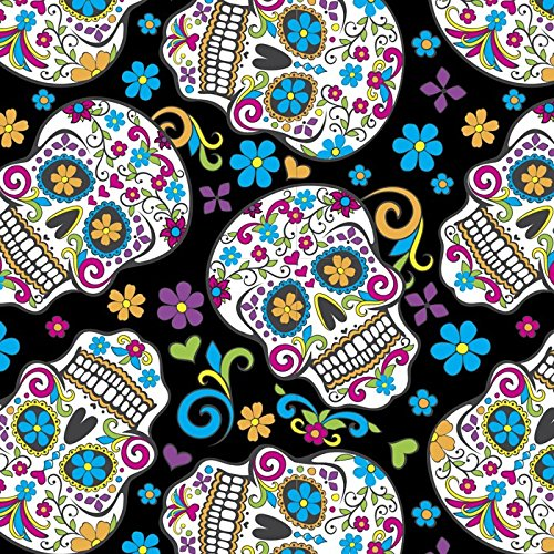 Sugar Skulls Folkloric Black Cotton Fabric By The Yard