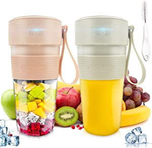 AYAOQIANG 2pcs Portable Blender,Personal Size Blender Smoothies and Shakes USB Rechargeable Juicer Cup with 2 Powerful Blades,Handheld Mini Blender for Smoothie,Fruit Juice, Milk Shakes