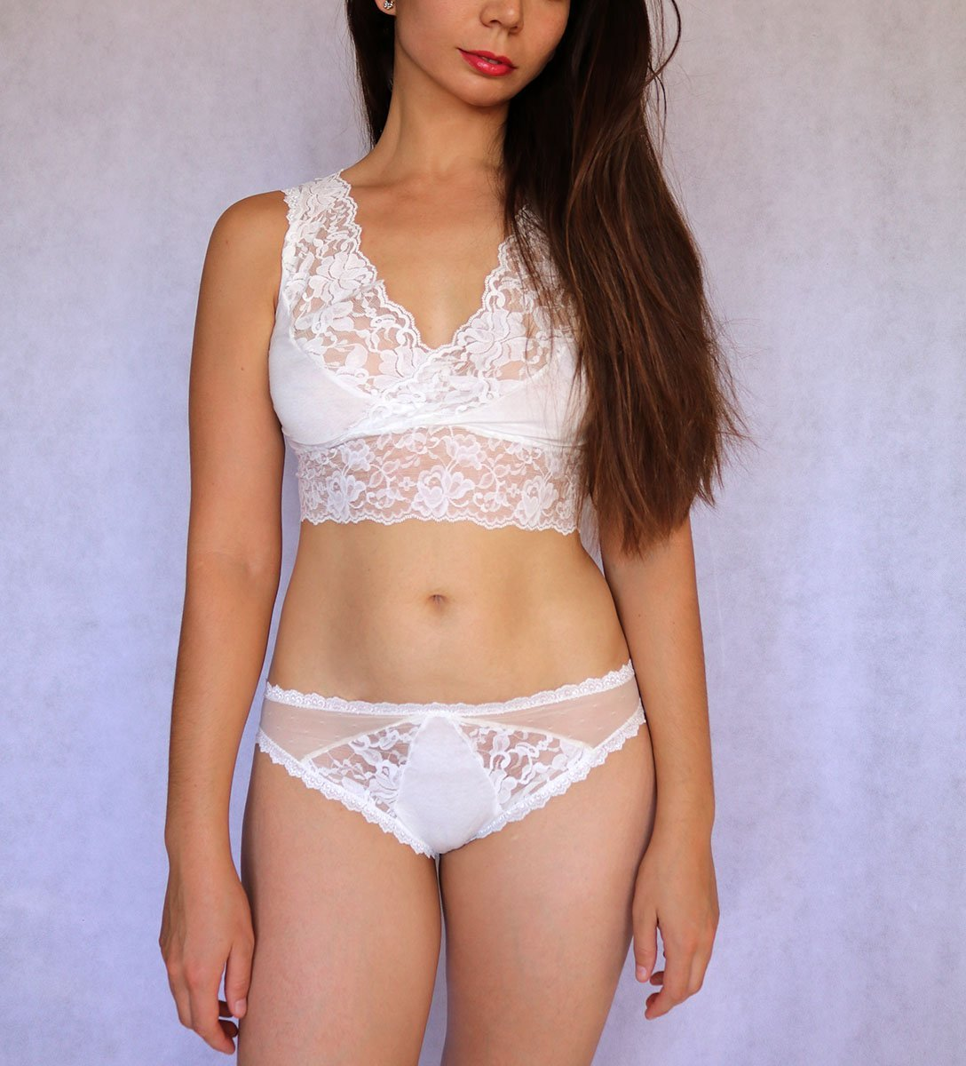 c66e682c73 Amazon.com  Ivory Lace Bralette Top. Sleep Bra. Bridal Lingerie. Wedding Bra.   Handmade