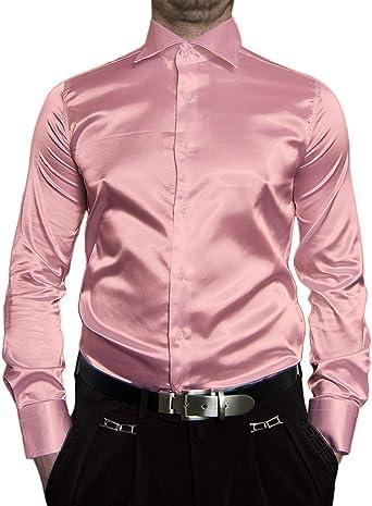 Camisa entallada de manga larga para hombre, satinada, color ...