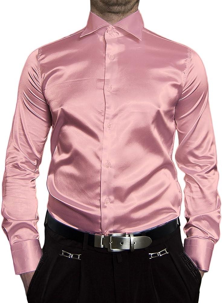 Camisa entallada de manga larga para hombre, satinada, color negro, blanco, azul, rosa, gris, dorado, amarillo, plateado, turquesa, beige, marrón, cian, lila, violeta y verde Rosa 38: Amazon.es: Ropa y accesorios