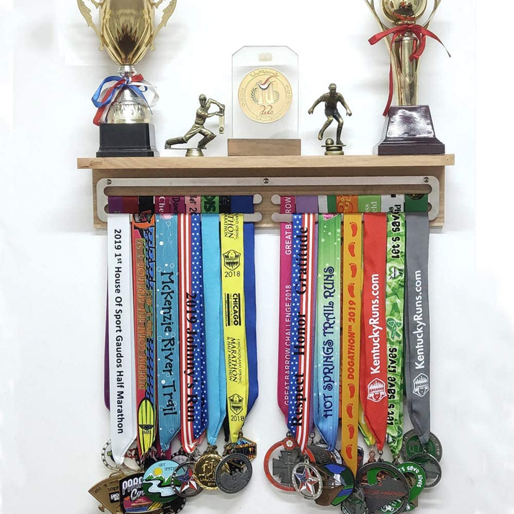 MEDALdisplay Hard Work Pays Display Rack Porta medaglie Motivazionale Medagliere da Parete Acciaio Inox 100/% Made in Italy by Sport Medal Hanger