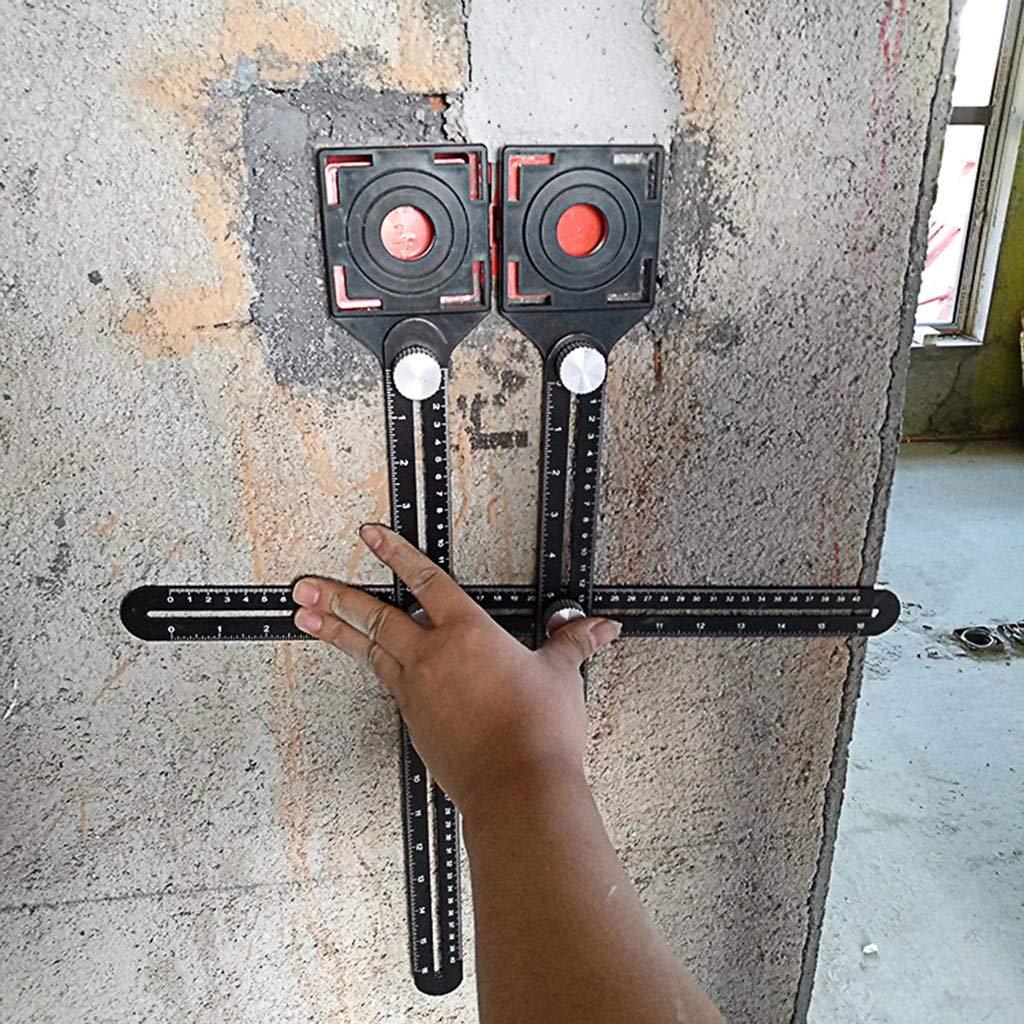 Lamdoo Aleaci/ón de Aluminio Multi /ángulo de medici/ón Seis Veces la Regla Posicionador de posici/ón Universal Trepanaci/ón Lineation Tile Glass Punching Tool
