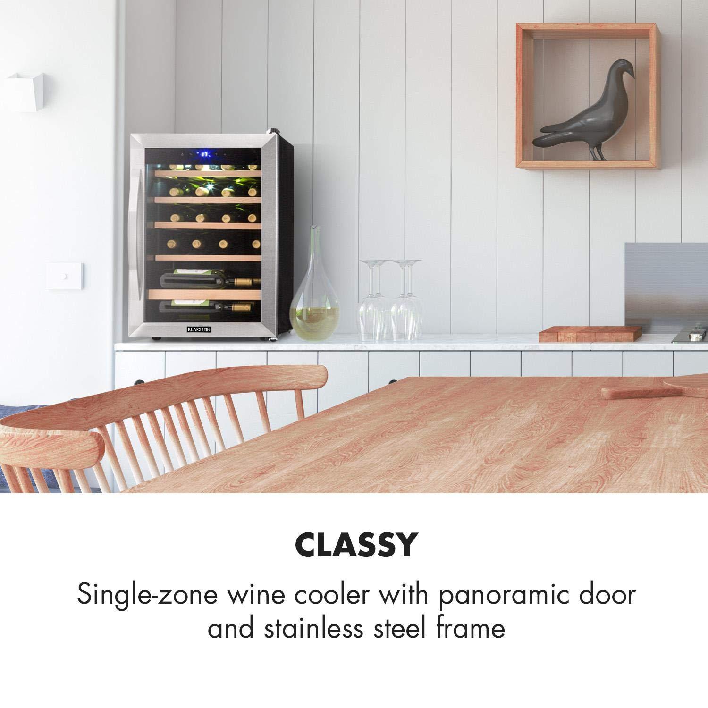 Klarstein Vinamour 19 /• Cave /à vin /• Avec porte vitr/ée /• 19 bouteilles /• 65 L /• 4-18/°C /• seulement 39 dB /• /éclairage int/érieur /• commande tactile /• noir