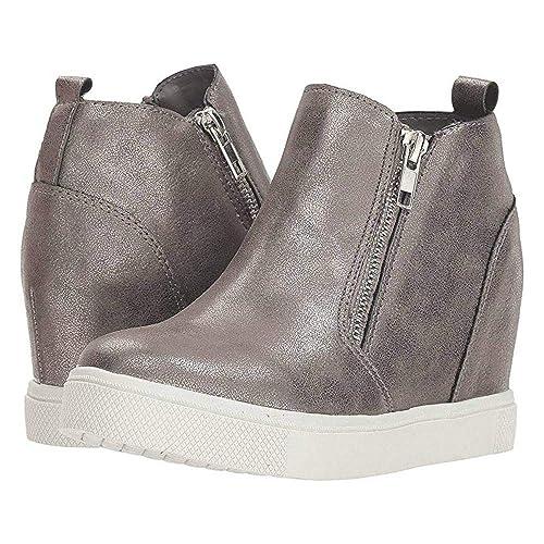 f0986d39c47c7 Runcati Womens Wedge Sneakers Hidden Heel Platform Zipper Booties Faux  Leather Fashoin Casual Girls High Top Shoes
